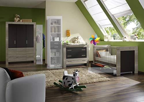 moebel-guenstig24.de Babyzimmer-Set Emily 4tlg Komplettset Bett Wickelkommode Schrank Eiche Sägerau Abs. Lavafarbig - Emily Baby Möbel