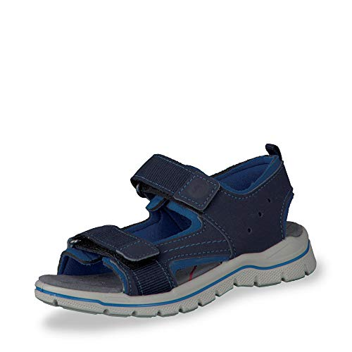 RICOSTA 6227801-178 Jungen Sandale aus Lederimitat doppelter Klett Weite Mittel, Groesse 30, dunkelblau/Royalblau