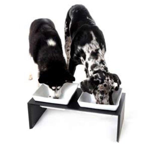Wolters Cat&Dog 22581 Futterstation Meshidai Doppelnapf Größe L 2 x 2.1 liter, schwarz - 2