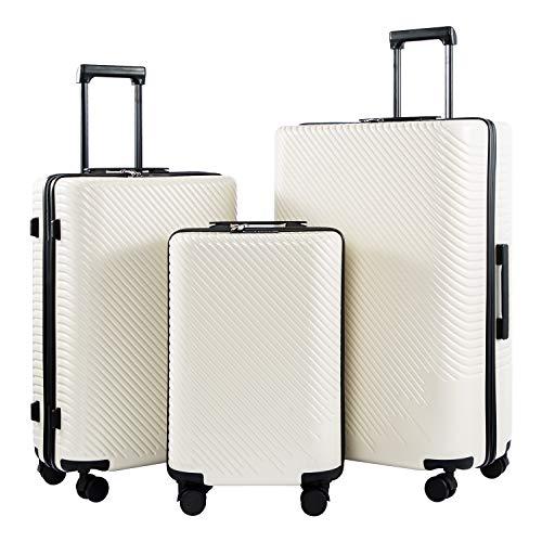 COOLIFE COOLIFE Mode-Business-Koffer Reisekoffer PC+ABS Material mit TSA-Schloss und 4 Rollen Handgepäck Mittelgroßer Großer Koffer (Weiß, Koffer-Set)
