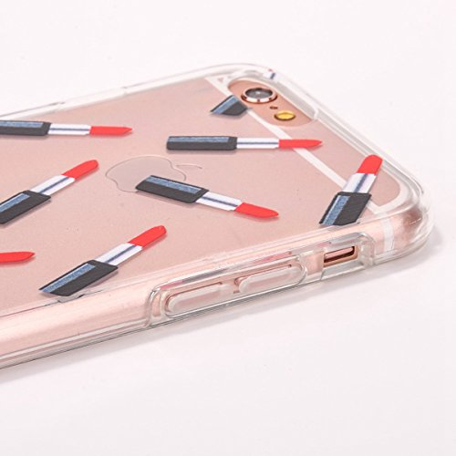 iPhone 6S Silicone Case,iPhone 6S Coque - Felfy Coque Souple Transparente TPU Silicone cadre et Plastic Back Case Premium Ultra-Light Ultra-Mince Skin de Protection Anti-Choc Bumper pour Apple iPhone  Rouge à lèvres