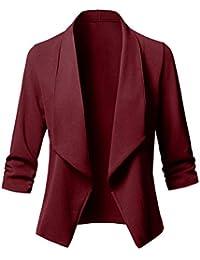 Minetom Donna Manica Lunga Aperto Davanti Blazer Cappotto Elegante Ufficio  Affari Top Corto Slim Fit Ufficiale OL Giacca… 62afde09976
