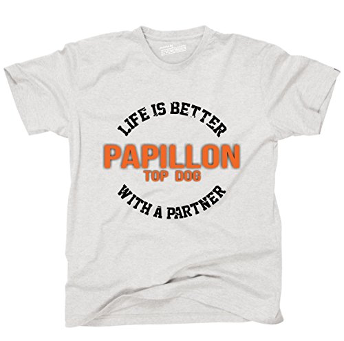 Siviwonder Unisex T-Shirt PAPILLON - LIFE IS BETTER PARTNER Hunde Ash