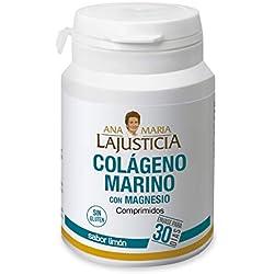 Ana Maria Lajusticia - Colágeno marino con magnesio - 180 comp (sabor limón). Articulaciones fuertes y piel tersa. Regenerador de tejidos con colageno hidrolizado tipo 1 y 2. Envase para 30 días.