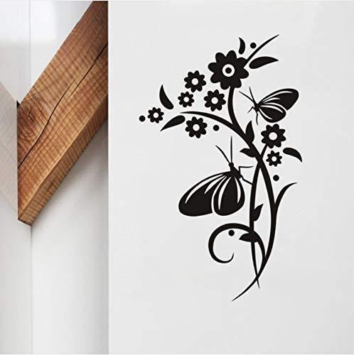 Hwhz 36X59 Cm Kunst Vinyl Wandaufkleber Blumen Und Schmetterlinge Auf Reben Abnehmbare Wohnzimmer Home Decor Wandtattoo
