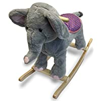 Baby Toddler Kids Plush Toy Elephant Rocking Horse Safari Style Ride on Rocker