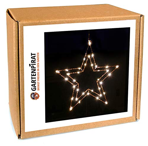 fensterstern Gartenpirat Draht-Stern 47 cm Kupfer mit 35 LED beleuchtet Fensterstern Weihnachtstern