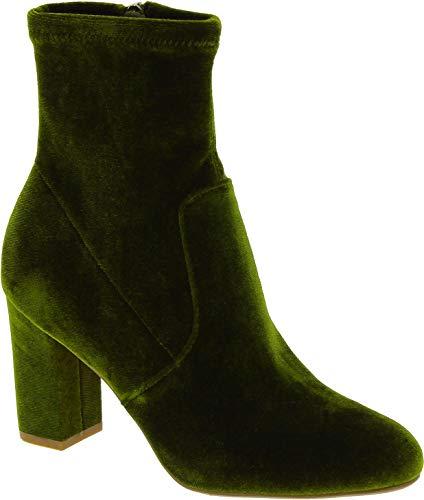 Steve Madden Avenue ANKLEBOOT Stivaletti alla Caviglia con Tacco da Donna in Velluto Verde - Codice Modello: 91000603 09005 05001 - Taglia: 36 EU