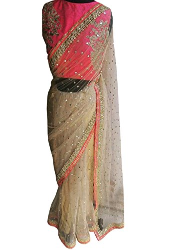 Isha Enterprise Women\'s Nylon Net Peach Thread Work With Hand Work Designer Saree