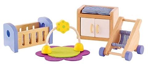 Hape - E3459 - Jeu d'Imitation en Bois - Maison de Poupées - Chambre de Bébé
