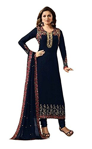 Dealbazaars Women Georgette Semi-Stiched Anarkali Dress Material (DL_dz_607_Blue)