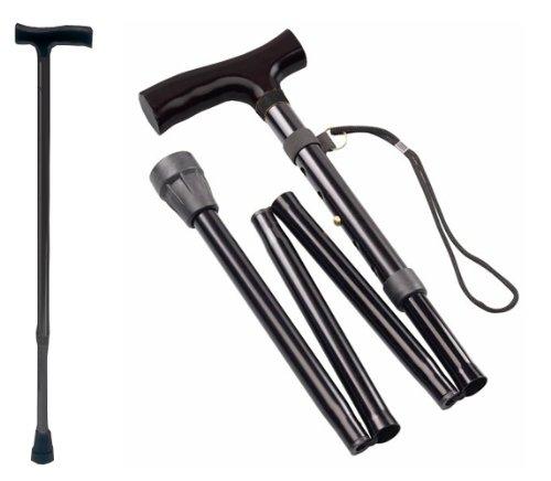 Gehstock Krückstock Spazierstock Aluminium Faltbar Schwarz 1 Stück Wanderstock Gehhilfe Tiga-Med Gehstöcke Krücken - Krücken Faltbare