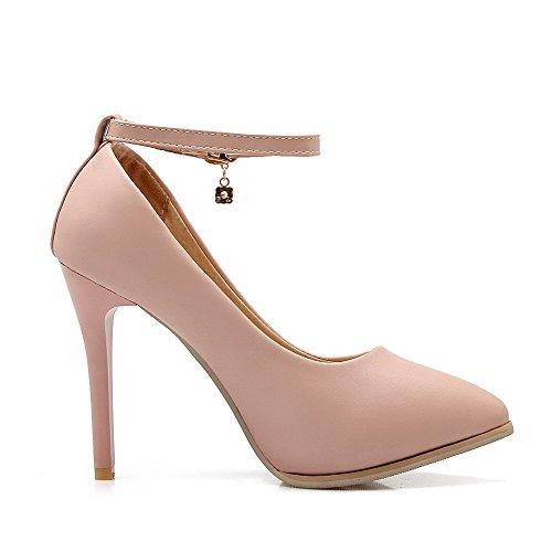 VogueZone009 Femme Matière Mélangee Pointu Stylet Boucle Couleur Unie Chaussures Légeres Rose