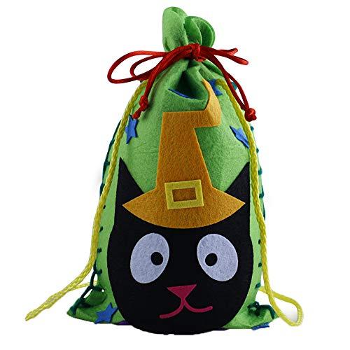 WWSUNNY Halloween-Süßigkeitstasche-Kordelzug-Kinder Trick-Leckerei-Taschen Halloween-Nette Süßigkeits-Tasche, die Kinder Partei-Speicher-Beutel-Geschenk Verpackt 10 Sätze Katze, die Einen Hut trägt