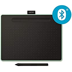 Tablette à stylet Wacom Intuos M Bluetooth, Pistache - Tablette graphique sans fil pour la peinture, le dessin et la retouche photo avec 3 logiciels créatifs gratuits*, compatible Windows & Mac
