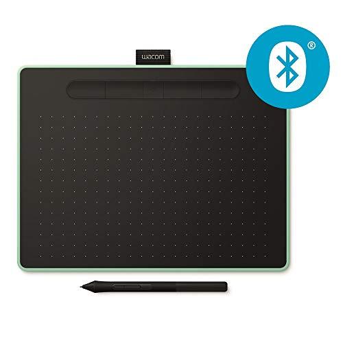 Wacom Intuos M Tableta Gráfica Bluetooth Pistacho - Tableta Gráfica Inalámbrica para pintar, dibujar y editar photos con 3 softwares creativos incluydos para descargar, compatible con Windows & Mac