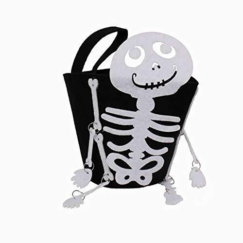 k oder Behandeln Taschen mit Schädelform oder Traditionelle Halloween-Süßigkeiten-Tasche ideal für Kinder 1pcs ()
