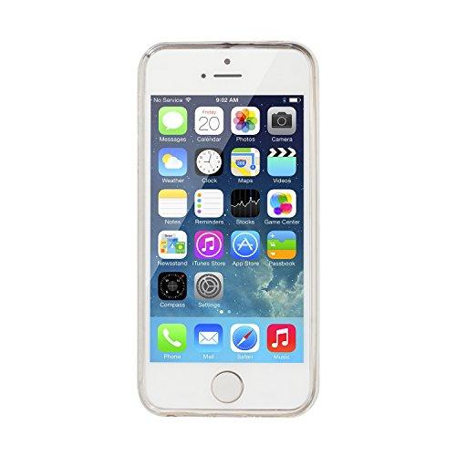 IJIA Ultra-mince Transparent Ladder Clouds Soft TPU Doux Silicone Bumper Case Coque Housse Etui Pour Apple iPhone 5 / 5S SE + 24K Or Autocollant Papillon Blanc Fille