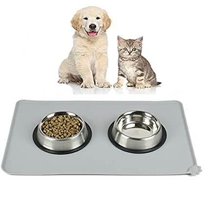 Dog Feeding Mat, Natural Silicone Waterproof Pet Food Mat, Non Slip Dog Bowl Placemat for Cat,Pets Dogs Bowls Mat Large… 6