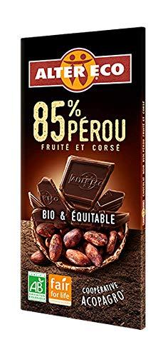 Alter Eco Tablette de Chocolat Noir 85% Bio et Equitable 100 g