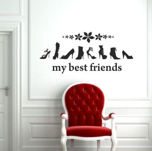 malango Wandtattoo Shoes my best Friends Erhältlich in mehr als 30 Farben 70 x 31 cm lindgrün
