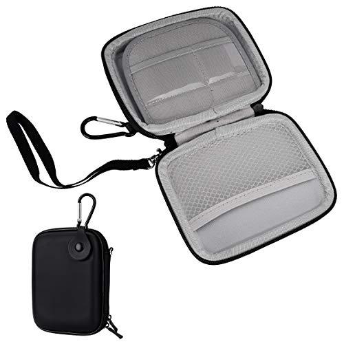 YoungRich Portable Hardcase Tasche Eva Mini Reise Tragetasche Aufbewahrungstasche mit Karabiner Strap Zwei Reißverschlüsse Halter für Power Bank Bluetooth Kopfhörer Daten Draht Schwarz 14x11x3cm (Macbook Men Fall Pro)