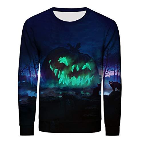 Andouy Herren Horror Halloween Kostüm Scary 3D Gedruckt Party Pullover Oberteile Übergroß Langarm Sweatshirts/Hoodies(L.Blau-2)