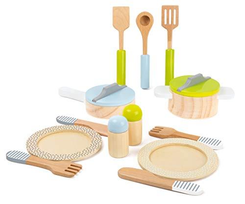 small foot 11098 Geschirr-und Topfset Kinderküche aus Holz, Kaufmannsladenzubehör Spielzeug, Mehrfarbig