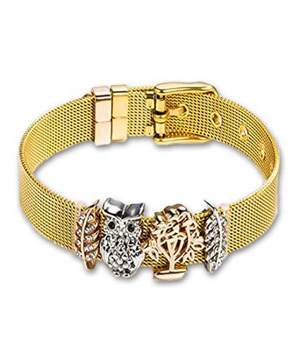 ENTZÜCKT ♥ Mesh Charm Armband für Frauen ♥ Individuelle Anhänger Charms austauschbar ♥ aus Edelstahl veredelt ♥ Größenverstellbar ♥ Bracelet Armband ♥ 3 Modelle 4 Farben