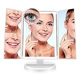 FASCINATE Espejo Maquillaje Con Luz,Tríptica Aumentos 10x, 3x, 2x,1x Magnetismo Extraíble Espejo 10 Aumentos Rotación Ajustable de 180° Espejo de Maquillaje luminacíon 36 LEDs Carga Con USB o Batería