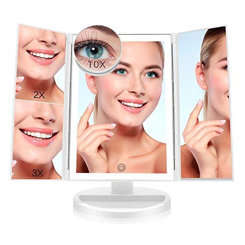 FASCINATE Espejo Maquillaje con Luz,Tríptica Aumentos 10x, 3X, 2X,1x Magnetismo Extraíble Espejo 10...