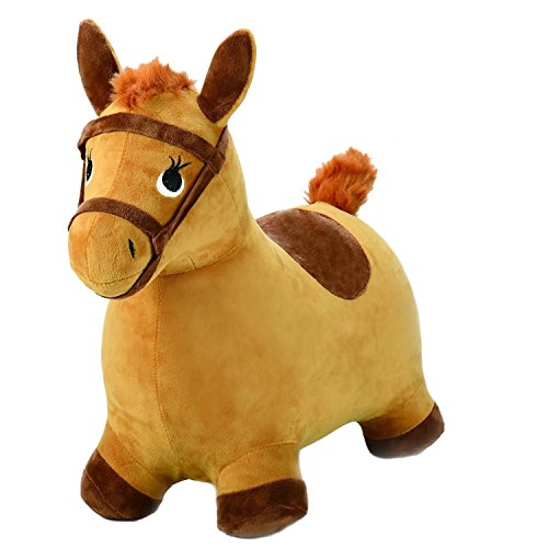 Sajani Hopping Horse, Outdoors and Indoor Ride On Bouncy Animal Play Toys, Inflatable Hopper Plush Covered, Activities Gift for 2, 3, 4, 5 Year Old Kids Toddlers (Pump Free)