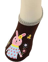 Tongshi Preciosa muchacha del bebé de la historieta de impresión elásticos Calcetines anti de la resbalón del niño Calcetines especí (M, marrón)