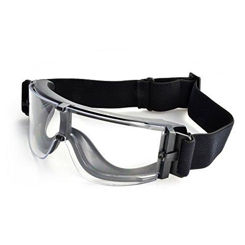 Taktische Schutz-Brille / Paintball Goggles / Airsoft Brille, transparent und verstellbar, Farbe: schwarz