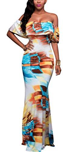 Femmes Sexy Boat Collier Feuille de Lotus imprimé floral longue Maxi robe de soirée Hem Robe C