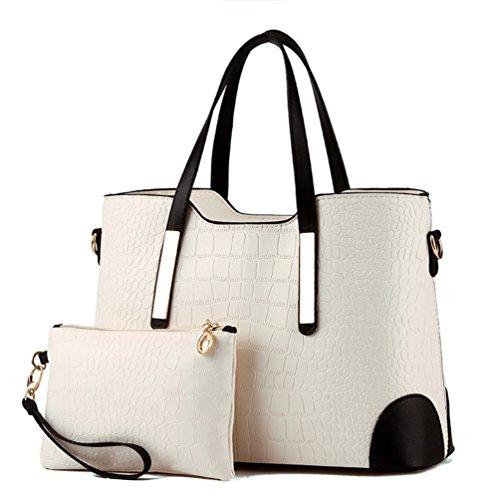Auspicious beginning Sacchetto di grande capacità delle donne con borsa portafoglio corrispondente 2 pezzi impostati beige bianco