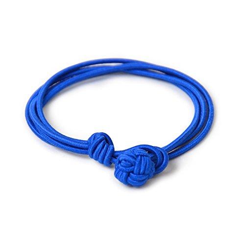 KNÖPFBAR 1 Paar klassisch und Business Herren Seidenknoten Armband, dehnbare Seide in Blau XS/S und M- für jeden Anlass