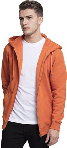 Urban Classics Herren Kapuzenjacke Basic Zip Hoodie - einfarbiges Sweatshirt mit Kapuze, Kapuzenpullover mit Reißverschluss - Farbe rust orange, Größe S -