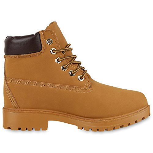 napoli-fashion Damen Herren Schuhe Kinder Schuhe Stiefeletten Worker Boots Outdoorschuhe Schnürstiefel VanHill Hellbraun Braun New Braun