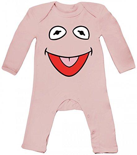ShirtStreet Fasching Karneval Verkleidung Baby Strampler Langarm Schlafanzug Jungen Mädchen Frosch Kostüm, Größe: 6-12 Monate,Powder (Kermit Der Frosch Kostüm Baby)