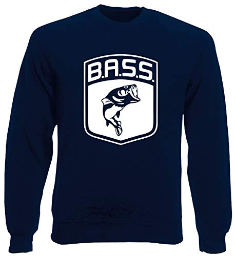 T-Shirtshock Rundhals-Sweatshirt fur Mann Blau Navy FUN0712 Bass Logo Fish Largemouth die Cut Vinyl Decal Sticker 83988