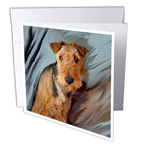 """3dRose gc_4169_2 6 x 6-Inch""""Airdale Terrier Portrait"""" Greeting Card (Pack of 12)"""