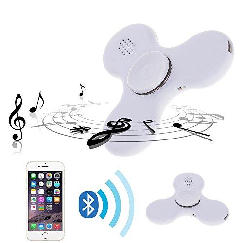 Preisvergleich Produktbild Mmrm Bunte leuchtende Hand Spinner wiederaufladbare Bluetooth-Lautsprecher Musik Schalter LED Lichter Spielzeug für Kinder Erwachsene Weiß