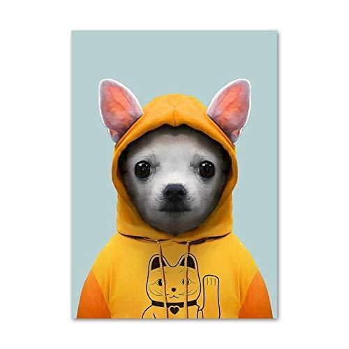 Hunde Bilder Kostüm Niedlichen Von - Leinwand kunst malerei niedlichen kostüm hund nordischen stil wohnzimmer schlafzimmer wohnkultur poster 50x70 cm