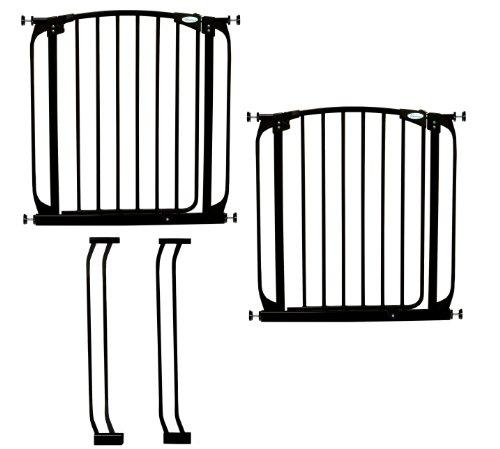 Dreambaby F786B Chelsea Treppenschutzgitter / Türschutzgitter-Set selbstschließend - 2 Gitter + 2 Verlängerungen (71-98cm) schwarz