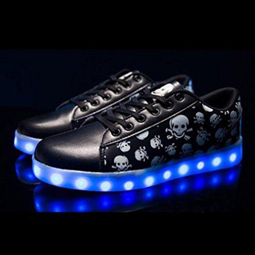 [Présents:petite serviette]JUNGLEST® Chaussures LED Skull Crane noir enfants Femme Homme Clignotants Chaussure Noir