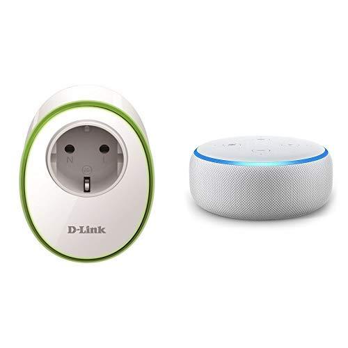 Echo Dot tessuto grigio chiaro + D-Link DSP-W115 Presa Intelligente con Interruttore senza Fili per Gestione Luci e Dispositivi Elettronici