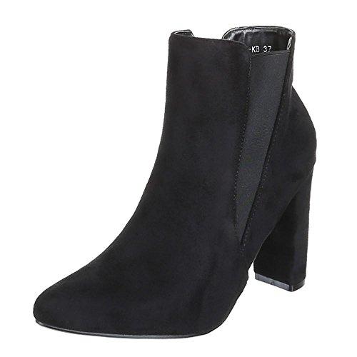 Damen Schuhe, B432S-KB, ANKLE BOOTS STIEFELETTEN Schwarz