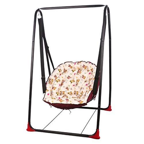 Kinder Schaukelstuhl Stahlrohr Stuhl Baby Schaukelstuhl Erwachsene Hängematte Outdoor Wiege Schaukelstuhl Balkon Baumwolle Kissen (Color : Pink)
