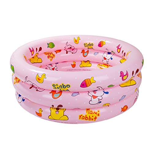 GYF Aufblasbare Babybadewanne,Baby Wanne DREI Ring Aufblasbare Schwimmbad Baby Pool Kinder Faltbare Badewanne Rosa Gelb 100X35 cm (Color : Pink)